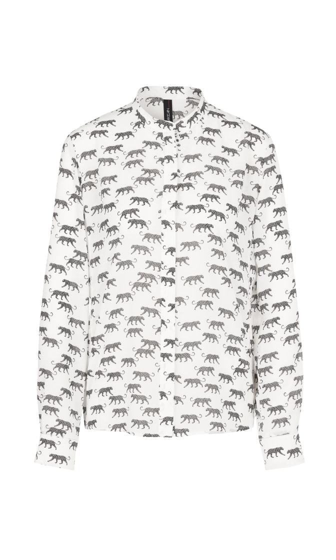 Edle Bluse aus Seidenmix mit Leoparden
